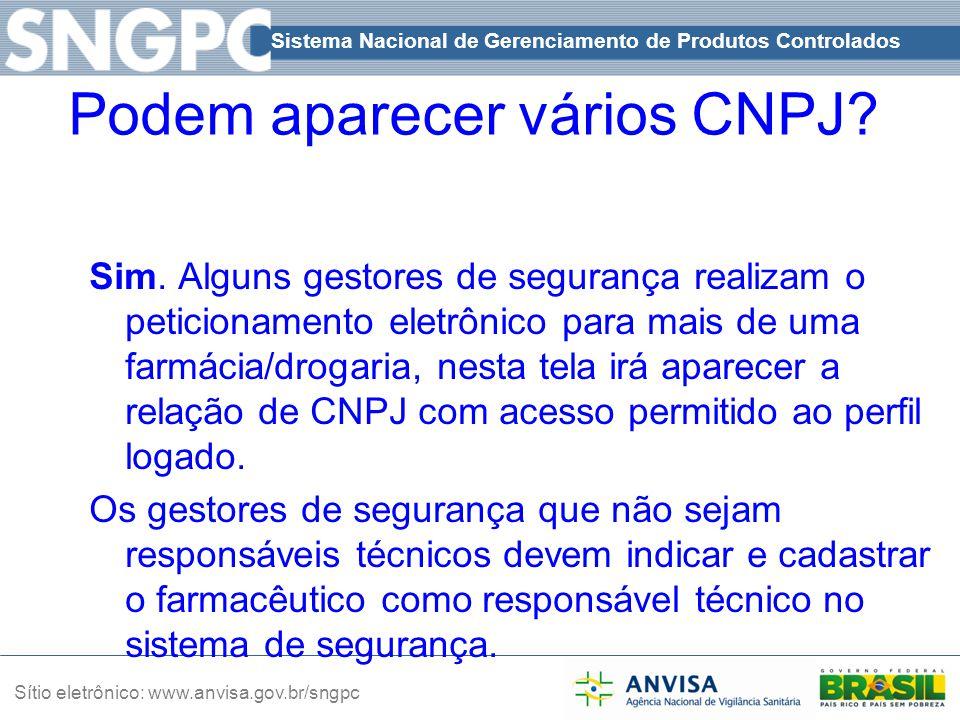 Sistema Nacional de Gerenciamento de Produtos Controlados Sítio eletrônico: www.anvisa.gov.br/sngpc Podem aparecer vários CNPJ? Sim. Alguns gestores d