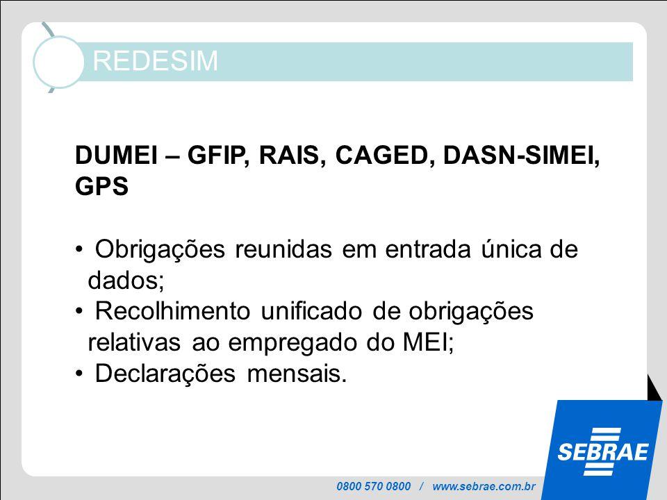 0800 570 0800 / www.sebrae.com.br REDESIM Informações mantidas atualizadas no Portal, pelos órgãos de licenciamento, em cada município: DUMEI – GFIP,