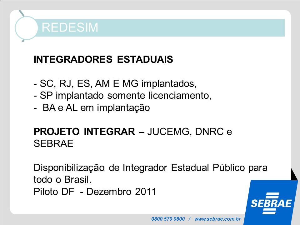 0800 570 0800 / www.sebrae.com.br REDESIM Informações mantidas atualizadas no Portal, pelos órgãos de licenciamento, em cada município: INTEGRADORES E