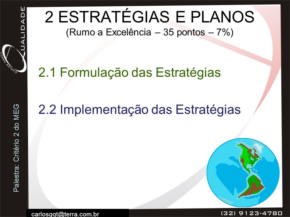 Palestra: Critério 2 do MEG carlosgqt@terra.com.br 2 ESTRATÉGIAS E PLANOS (Rumo a Excelência – 35 pontos – 7%) 2.1 Formulação das Estratégias 2.2 Impl