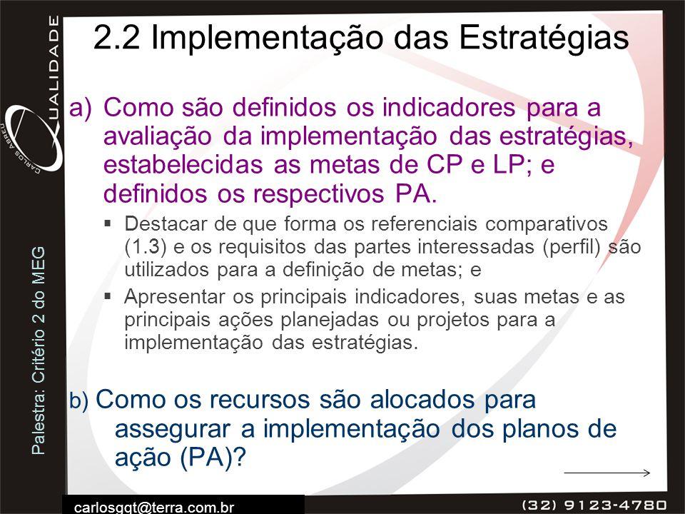 Palestra: Critério 2 do MEG carlosgqt@terra.com.br 2.2 Implementação das Estratégias a)Como são definidos os indicadores para a avaliação da implement