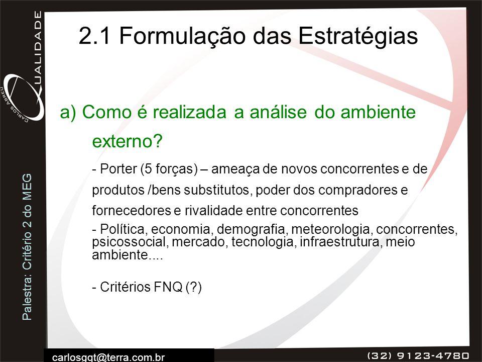 Palestra: Critério 2 do MEG carlosgqt@terra.com.br 2.1 Formulação das Estratégias a) Como é realizada a análise do ambiente externo? - Porter (5 força