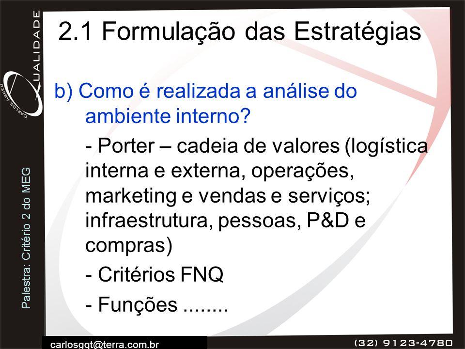 Palestra: Critério 2 do MEG carlosgqt@terra.com.br 2.1 Formulação das Estratégias b) Como é realizada a análise do ambiente interno? - Porter – cadeia