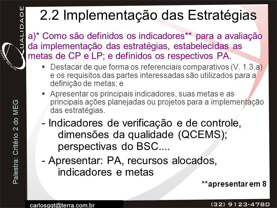 Palestra: Critério 2 do MEG carlosgqt@terra.com.br 2.2 Implementação das Estratégias a)* Como são definidos os indicadores** para a avaliação da imple