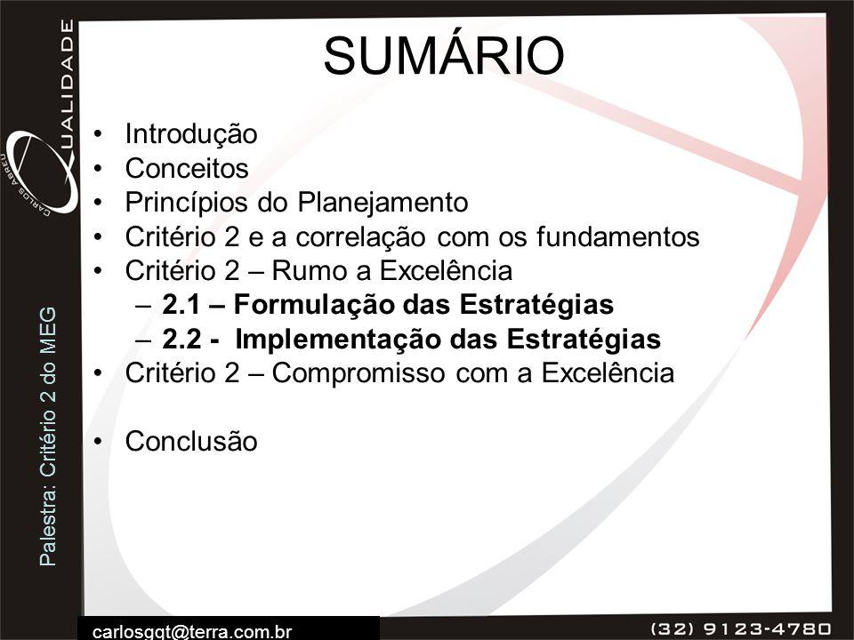 Palestra: Critério 2 do MEG carlosgqt@terra.com.br SUMÁRIO Introdução Conceitos Princípios do Planejamento Critério 2 e a correlação com os fundamento