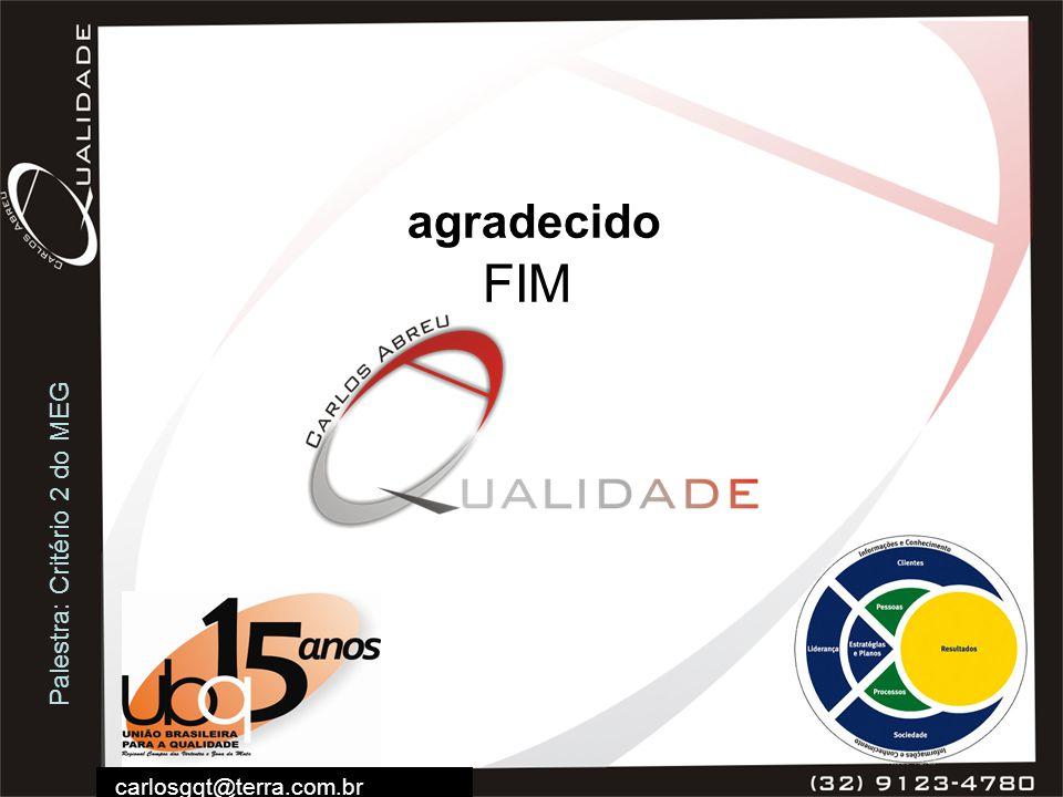 Palestra: Critério 2 do MEG carlosgqt@terra.com.br agradecido FIM