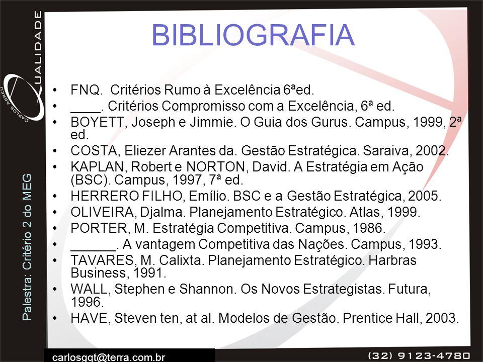 Palestra: Critério 2 do MEG carlosgqt@terra.com.br BIBLIOGRAFIA FNQ. Critérios Rumo à Excelência 6ªed. ____. Critérios Compromisso com a Excelência, 6