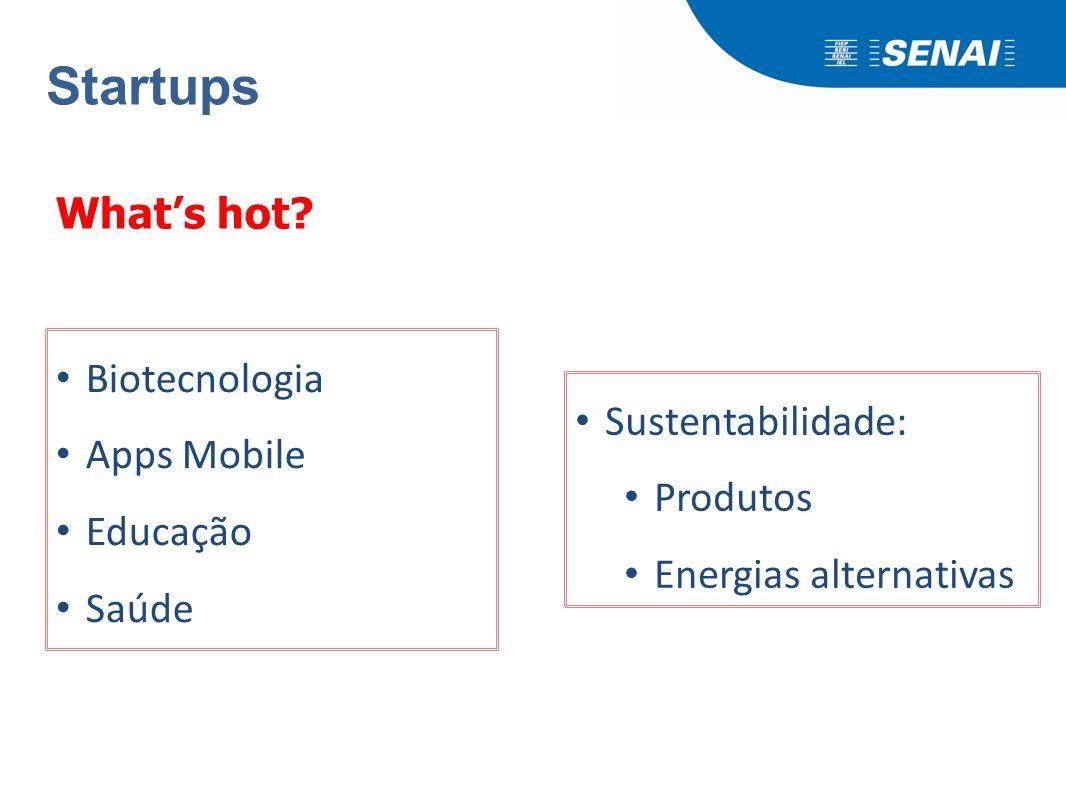 Startups What's hot? Biotecnologia Apps Mobile Educação Saúde Sustentabilidade: Produtos Energias alternativas