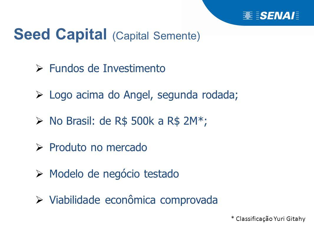 Seed Capital (Capital Semente)  Fundos de Investimento  Logo acima do Angel, segunda rodada;  No Brasil: de R$ 500k a R$ 2M*;  Produto no mercado