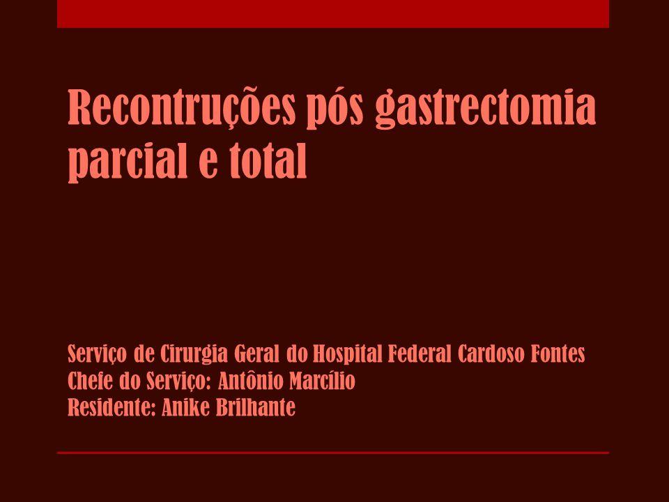 Gastrectomia parcial  1881 - Billroth fez a 1ª gastrectomia parcial bem sucedida  1885 - 2ª técnica de Billroth  1893 - Técnica de Roux  Indicações: úlcera gástrica, úlcera pré-pilórica, CA antro