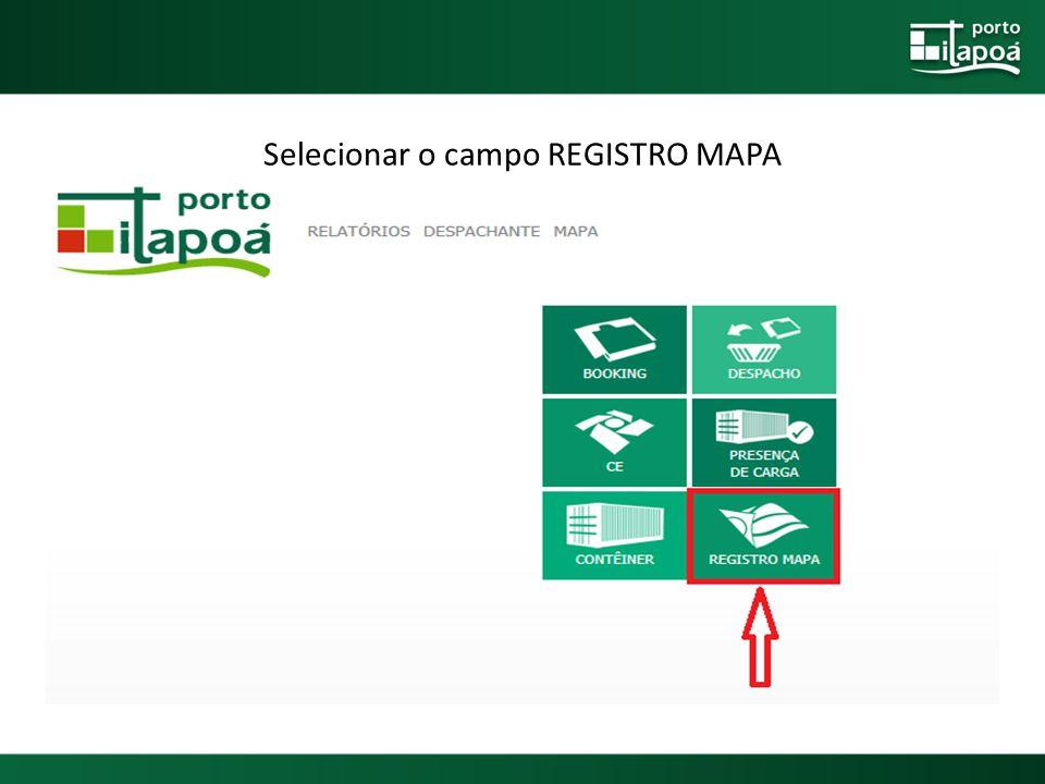 Selecionar o campo REGISTRO MAPA