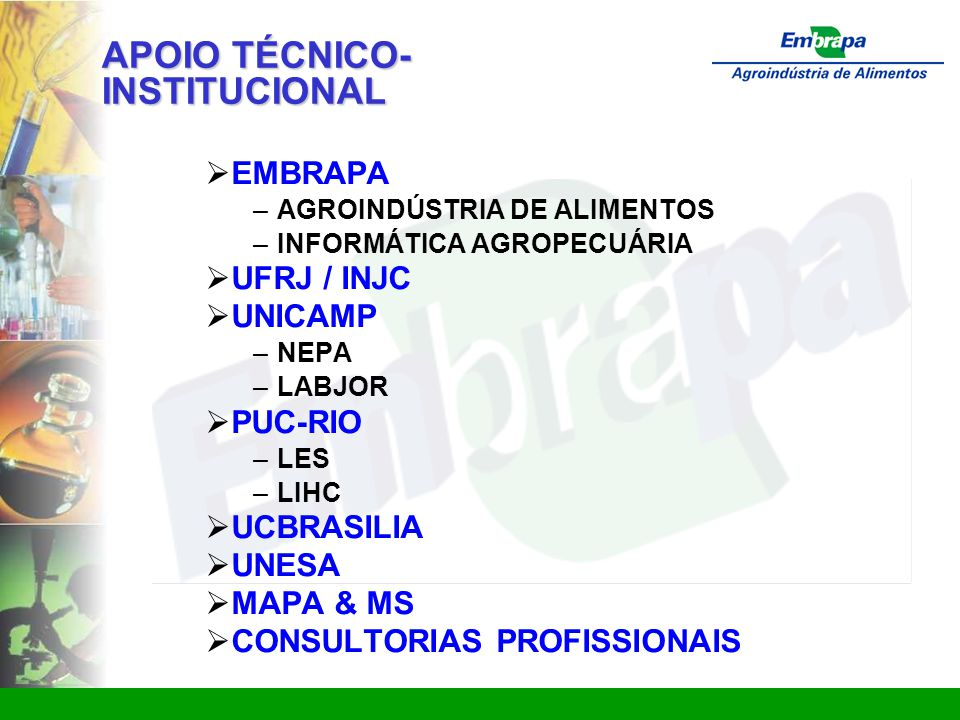 www.ctaa.embrapa.br sac@ctaa.embrapa.br APOIO TÉCNICO- INSTITUCIONAL  EMBRAPA – AGROINDÚSTRIA DE ALIMENTOS – INFORMÁTICA AGROPECUÁRIA  UFRJ / INJC  UNICAMP – NEPA – LABJOR  PUC-RIO – LES – LIHC  UCBRASILIA  UNESA  MAPA & MS  CONSULTORIAS PROFISSIONAIS