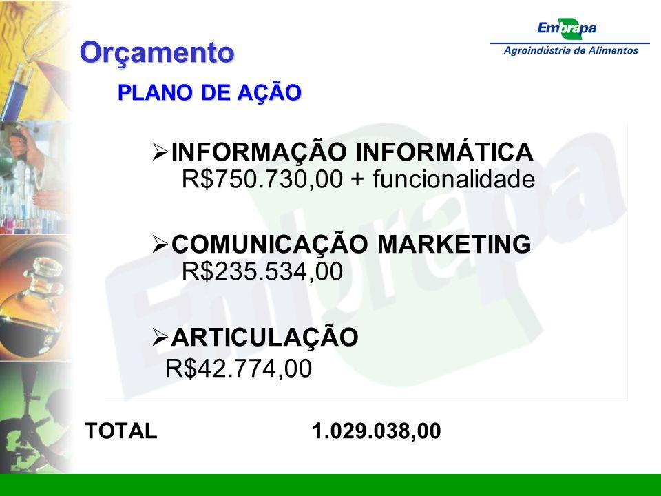 Orçamento PLANO DE AÇÃO  INFORMAÇÃO INFORMÁTICA R$750.730,00 + funcionalidade  COMUNICAÇÃO MARKETING R$235.534,00  ARTICULAÇÃO R$42.774,00 TOTAL 1.