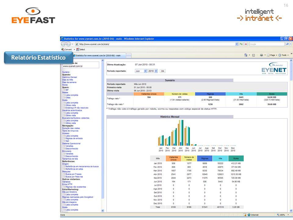 16 Acesse: www.eyenet.com.br ou ligue : (11) 5049-0441 Relatório Estatístico