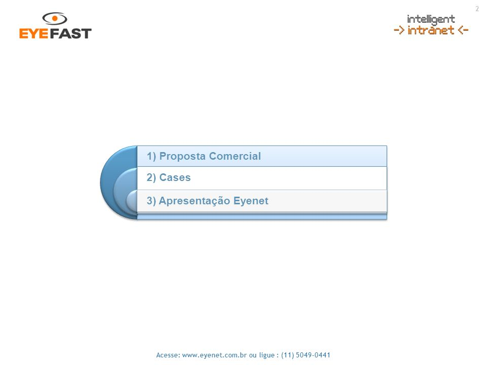 2 1) Proposta Comercial 2) Cases 3) Apresentação Eyenet