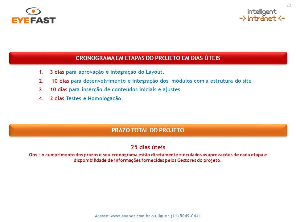 22 Acesse: www.eyenet.com.br ou ligue : (11) 5049-0441 CRONOGRAMA EM ETAPAS DO PROJETO EM DIAS ÚTEIS PRAZO TOTAL DO PROJETO 1.3 dias para aprovação e