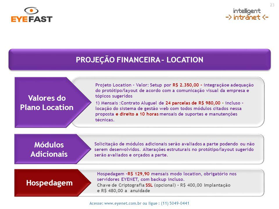 23 Acesse: www.eyenet.com.br ou ligue : (11) 5049-0441 Projeto Location - Valor: Setup por R$ 2.350,00 – integraçãoe adequação do protótipo/layout de