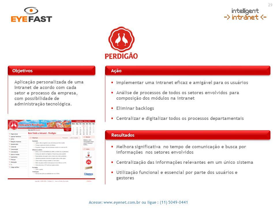 29 Acesse: www.eyenet.com.br ou ligue : (11) 5049-0441 Aplicação personalizada de uma Intranet de acordo com cada setor e processo da empresa, com pos