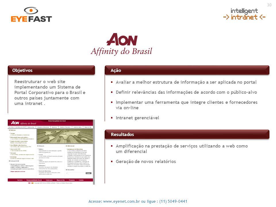 30 Acesse: www.eyenet.com.br ou ligue : (11) 5049-0441 Reestruturar o web site implementando um Sistema de Portal Corporativo para o Brasil e outros p
