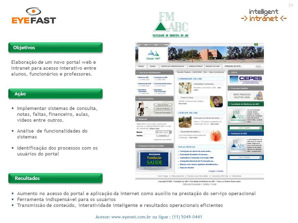 31 Acesse: www.eyenet.com.br ou ligue : (11) 5049-0441 Objetivos Ação Resultados Elaboração de um novo portal web e intranet para acesso interativo en