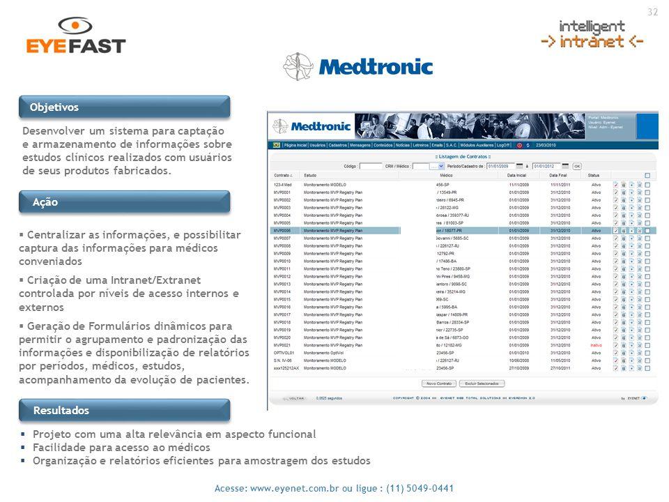 32 Acesse: www.eyenet.com.br ou ligue : (11) 5049-0441 Ação Desenvolver um sistema para captação e armazenamento de informações sobre estudos clínicos