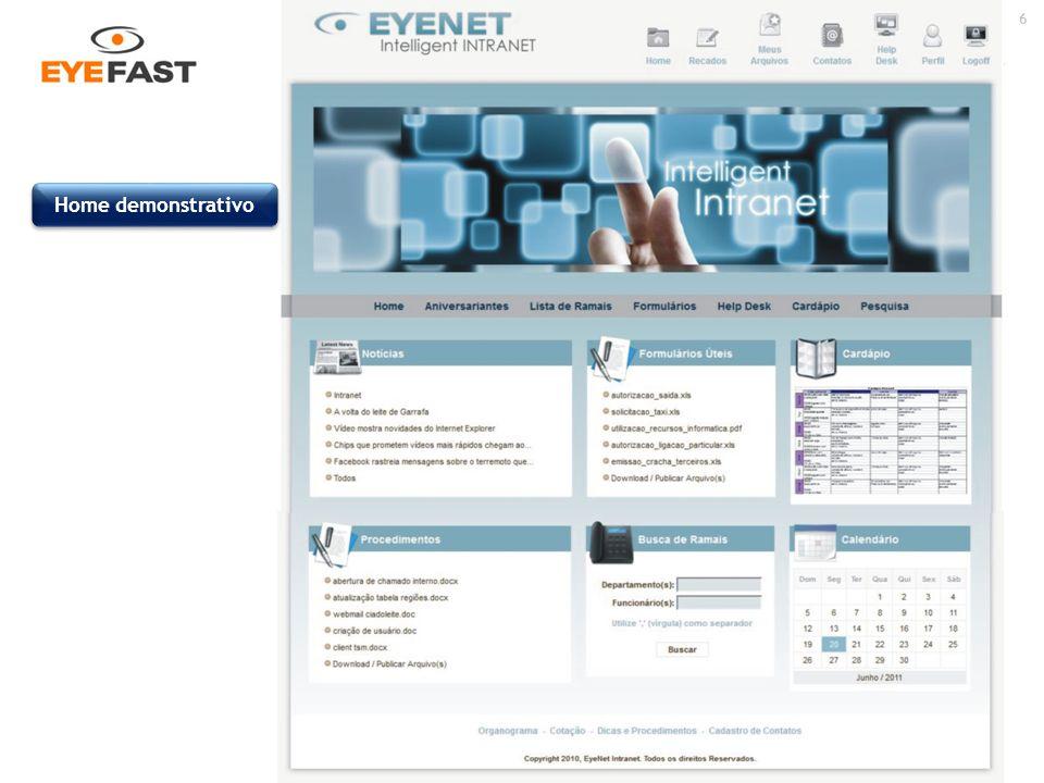 17 Acesse: www.eyenet.com.br ou ligue : (11) 5049-0441 O Sistema de Gerenciamento de Sites EyeNet foi 100% desenvolvido para ambiente web para facilitar seu uso corporativo internamente e externamente de qualquer ponto de acesso, sem necessidades de instalações e homologações com referência a segurança.