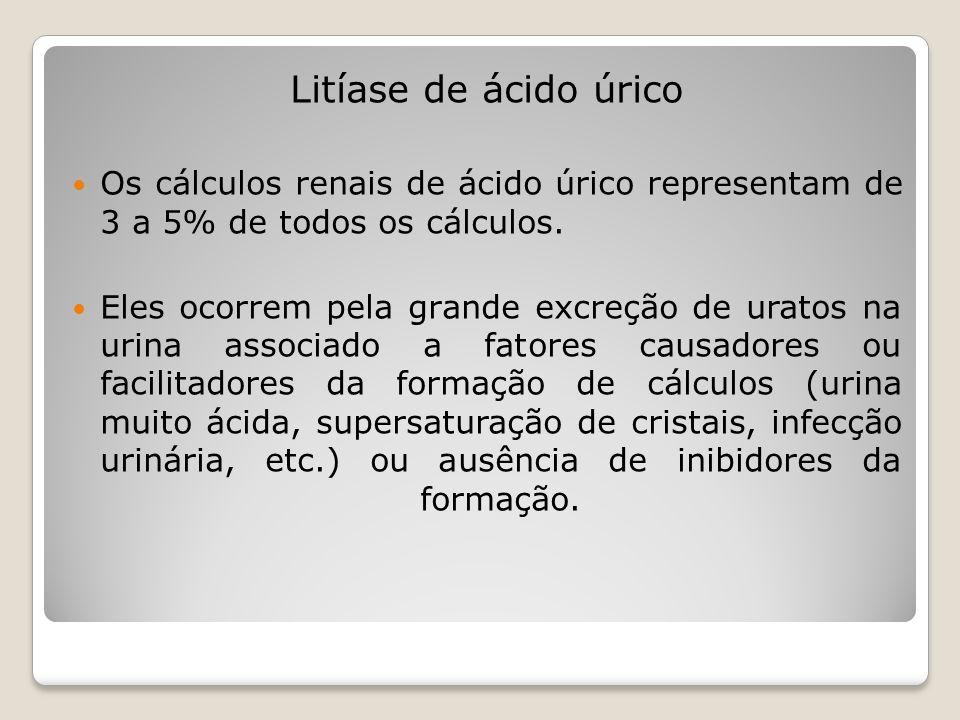 Litíase de ácido úrico Os cálculos renais de ácido úrico representam de 3 a 5% de todos os cálculos. Eles ocorrem pela grande excreção de uratos na ur