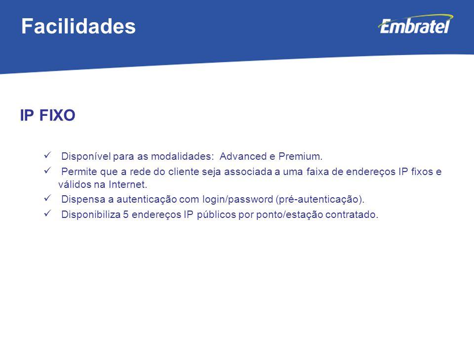 Gestão de Mercado IP FIXO Disponível para as modalidades: Advanced e Premium.