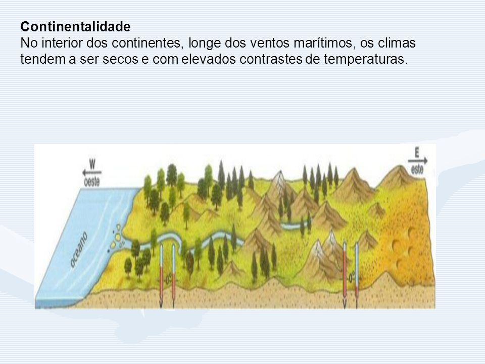 Continentalidade No interior dos continentes, longe dos ventos marítimos, os climas tendem a ser secos e com elevados contrastes de temperaturas.