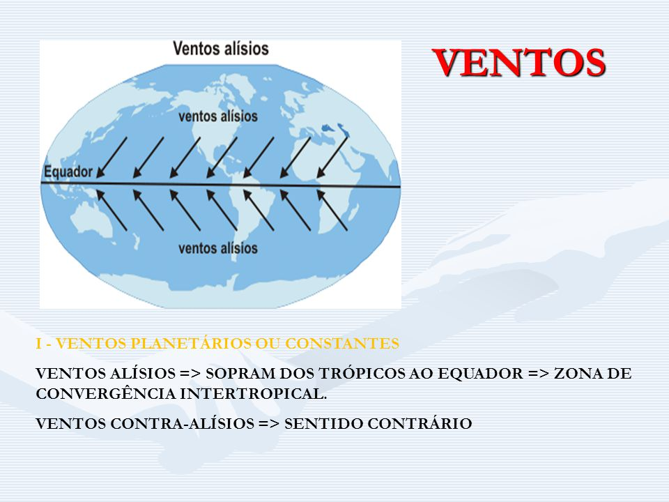 VENTOS I - VENTOS PLANETÁRIOS OU CONSTANTES VENTOS ALÍSIOS => SOPRAM DOS TRÓPICOS AO EQUADOR => ZONA DE CONVERGÊNCIA INTERTROPICAL.