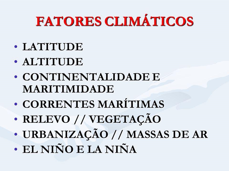 FATORES X ELEMENTOS CLIMÁTICOS 1.TEMPERATURA X ALTITUDE MAIOR ALT.