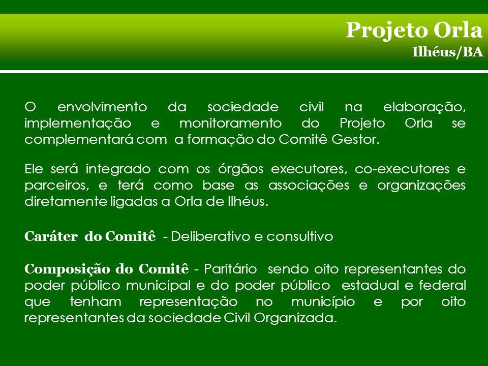 Projeto Orla Ilhéus/BA O envolvimento da sociedade civil na elaboração, implementação e monitoramento do Projeto Orla se complementará com a formação do Comitê Gestor.