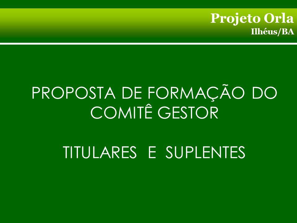 Projeto Orla Ilhéus/BA PROPOSTA DE FORMAÇÃO DO COMITÊ GESTOR TITULARES E SUPLENTES