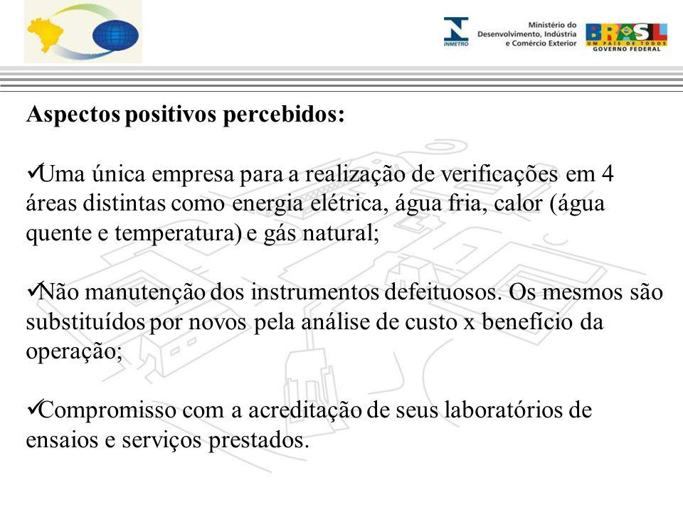 Aspectos positivos percebidos: Uma única empresa para a realização de verificações em 4 áreas distintas como energia elétrica, água fria, calor (água