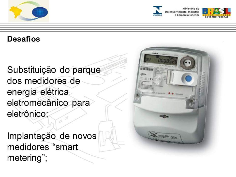"""Desafios Substituição do parque dos medidores de energia elétrica eletromecânico para eletrônico; Implantação de novos medidores """"smart metering"""";"""
