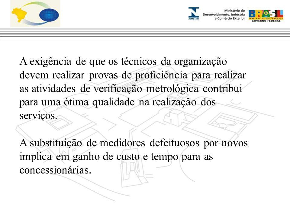 A exigência de que os técnicos da organização devem realizar provas de proficiência para realizar as atividades de verificação metrológica contribui p