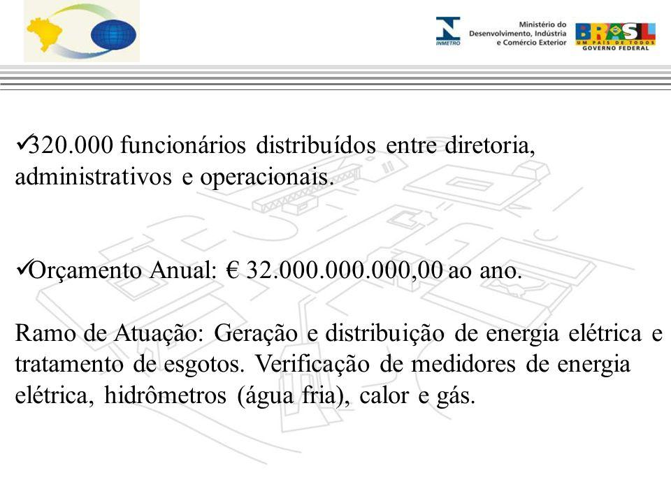 320.000 funcionários distribuídos entre diretoria, administrativos e operacionais. Orçamento Anual: € 32.000.000.000,00 ao ano. Ramo de Atuação: Geraç
