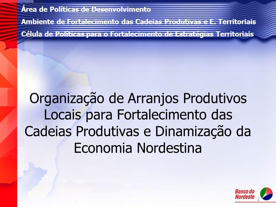1 Organização de Arranjos Produtivos Locais para Fortalecimento das Cadeias Produtivas e Dinamização da Economia Nordestina Área de Políticas de Desen