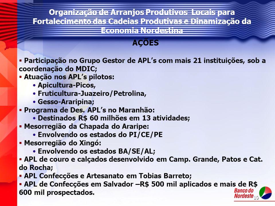 10 AÇÕES  Participação no Grupo Gestor de APL's com mais 21 instituições, sob a coordenação do MDIC;  Atuação nos APL's pilotos: Apicultura-Picos, F
