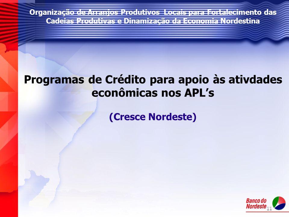 11 Organização de Arranjos Produtivos Locais para Fortalecimento das Cadeias Produtivas e Dinamização da Economia Nordestina Programas de Crédito para