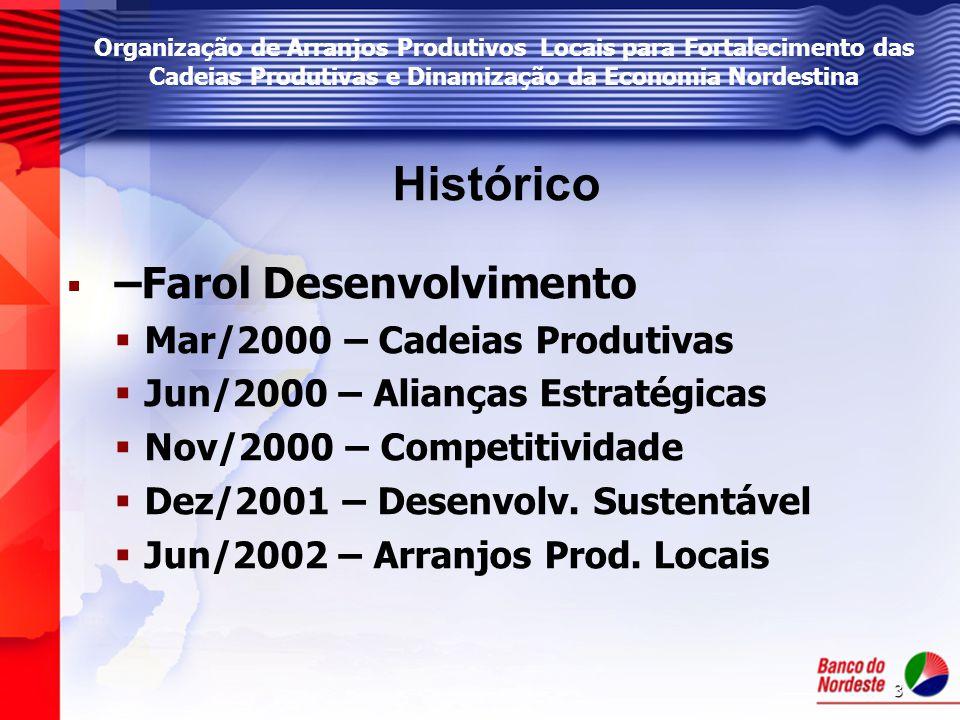 4 Programa de Organização de Arranjos Produtivos Locais (APL's) para Fortalecimento das Cadeias Produtivas e Dinamização da Economia Nordestina Objetivo Geral Desenvolver ações direcionadas à organização de aglomerações produtivas, estimulando a sua consolidação, via fortalecimento das atividades, o aumento da competitividade com sustentabilidade, o desenvolvimento da governança local, a expansão dos mercados internos e a inserção nos mercados externos, contribuindo para o desenvolvimento econômico regional e redução das disparidades inter e intra regionais.