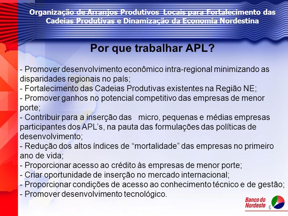 6 Organização de Arranjos Produtivos Locais para Fortalecimento das Cadeias Produtivas e Dinamização da Economia Nordestina Por que trabalhar APL? - P