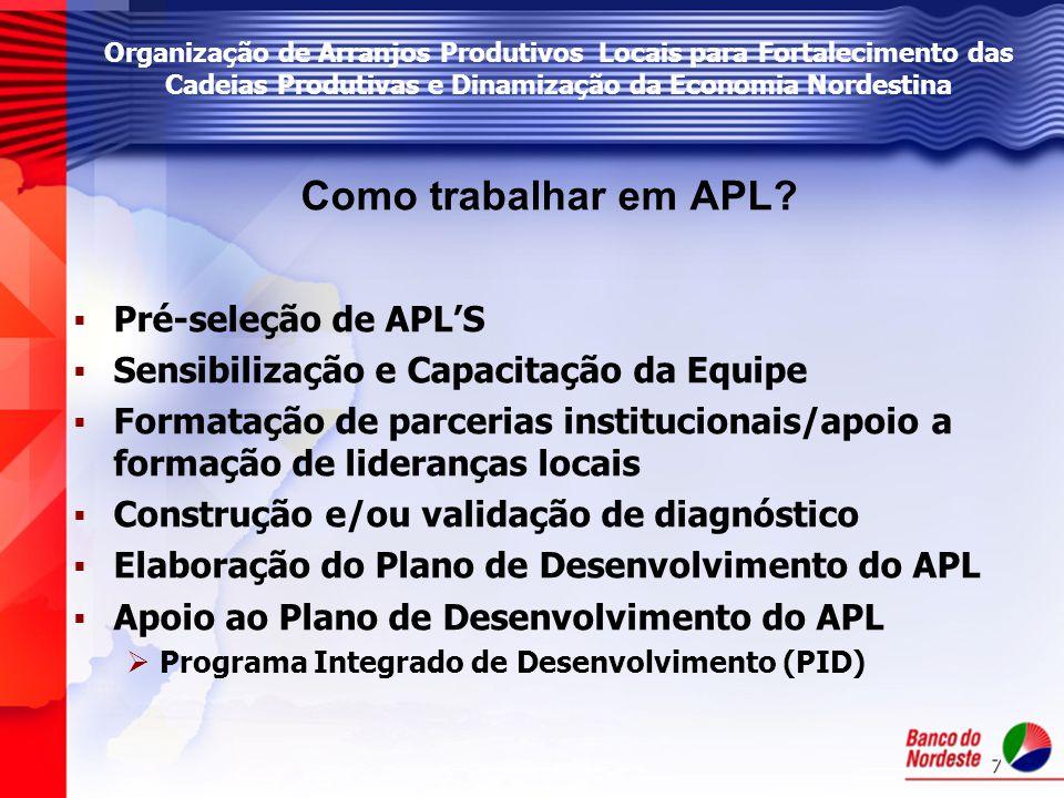 7 Como trabalhar em APL?   Pré-seleção de APL'S   Sensibilização e Capacitação da Equipe   Formatação de parcerias institucionais/apoio a formaç