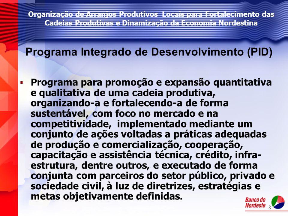 8 Programa Integrado de Desenvolvimento (PID)   Programa para promoção e expansão quantitativa e qualitativa de uma cadeia produtiva, organizando-a