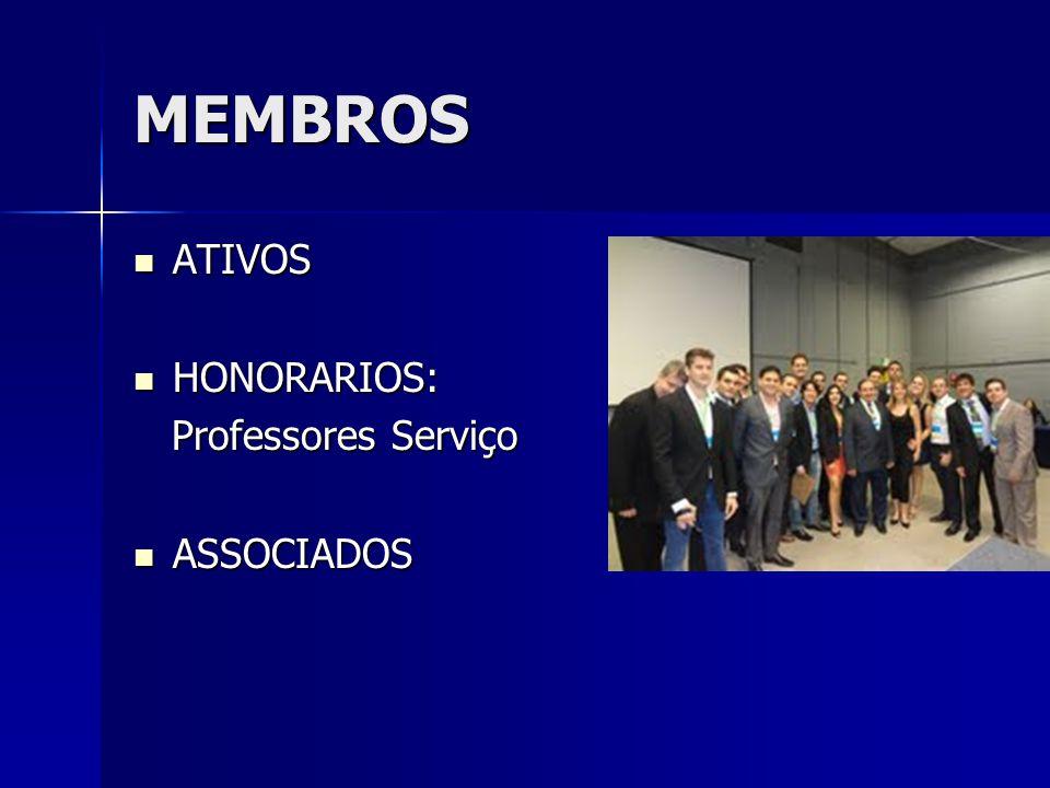 MEMBROS ATIVOS ATIVOS HONORARIOS: HONORARIOS: Professores Serviço Professores Serviço ASSOCIADOS ASSOCIADOS