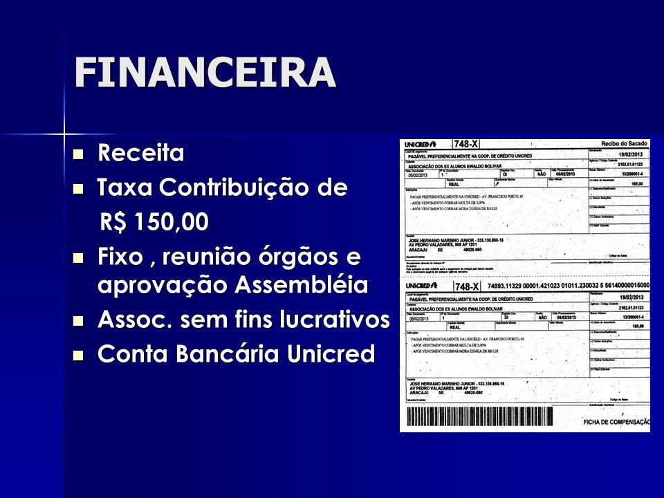 FINANCEIRA Receita Receita Taxa Contribuição de Taxa Contribuição de R$ 150,00 R$ 150,00 Fixo, reunião órgãos e aprovação Assembléia Fixo, reunião órgãos e aprovação Assembléia Assoc.
