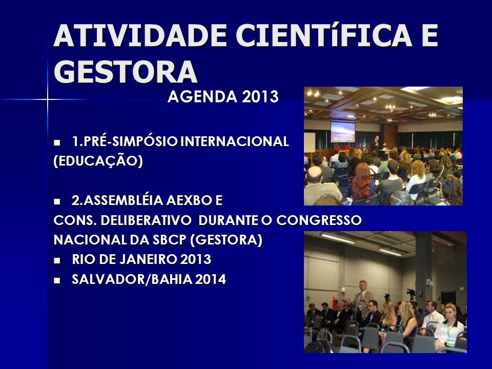 ATIVIDADE CIENTíFICA E GESTORA AGENDA 2013 1.PRÉ-SIMPÓSIO INTERNACIONAL 1.PRÉ-SIMPÓSIO INTERNACIONAL(EDUCAÇÃO) 2.ASSEMBLÉIA AEXBO E 2.ASSEMBLÉIA AEXBO E CONS.