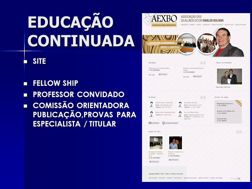 EDUCAÇÃO CONTINUADA SITE SITE FELLOW SHIP FELLOW SHIP PROFESSOR CONVIDADO PROFESSOR CONVIDADO COMISSÃO ORIENTADORA PUBLICAÇÃO,PROVAS PARA ESPECIALISTA / TITULAR COMISSÃO ORIENTADORA PUBLICAÇÃO,PROVAS PARA ESPECIALISTA / TITULAR