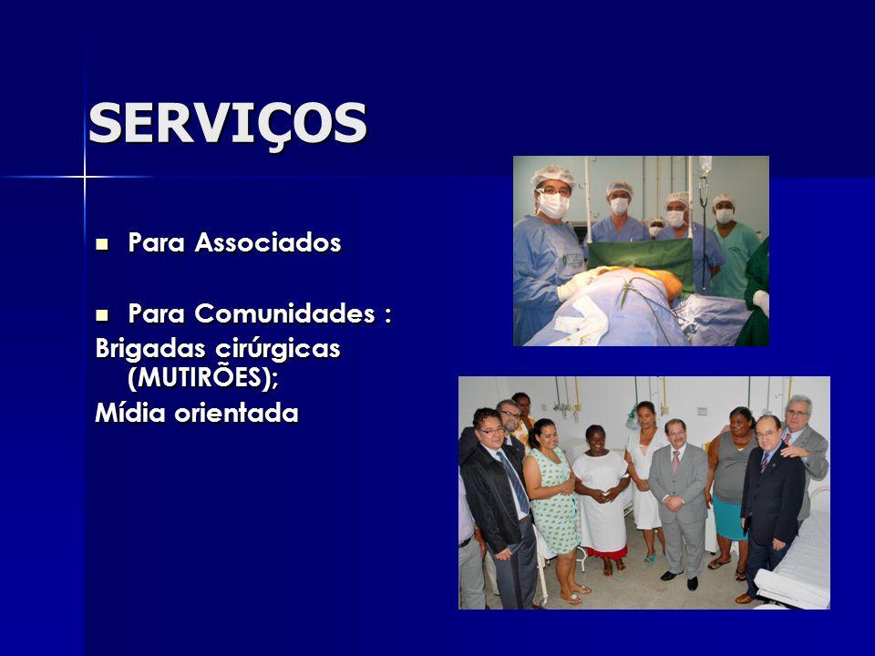 SERVIÇOS Para Associados Para Associados Para Comunidades : Para Comunidades : Brigadas cirúrgicas (MUTIRÕES); Mídia orientada
