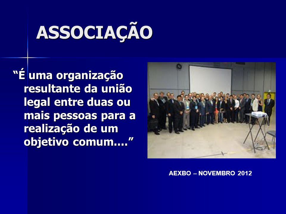 ASSOCIAÇÃO É uma organização resultante da união legal entre duas ou mais pessoas para a realização de um objetivo comum.... AEXBO – NOVEMBRO 2012